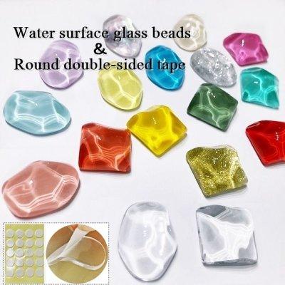 画像1: 水面 透明ガラスビーズ &丸両面テープ